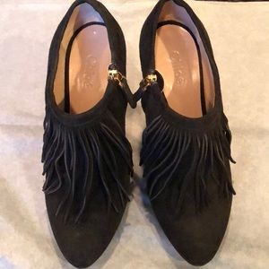 Chloe Black Suede Fringe Ankle booties